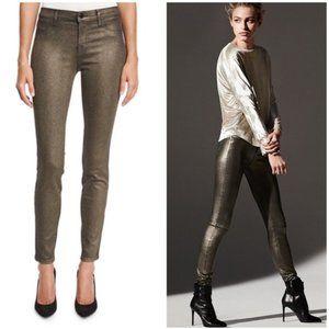 New J. BRAND Mid Rise Super Skinny Gold Jeans